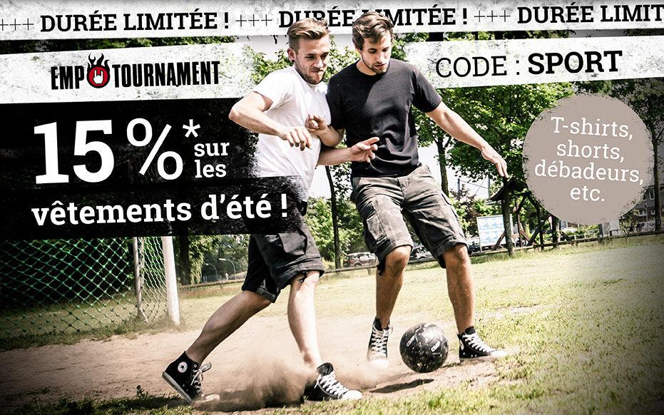 15 % sur les vêtements d'été!