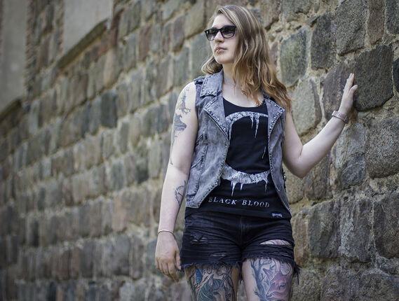 Graue Weste mit Waschung und Ziernähten von Rock Rebel By EMP
