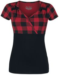 Schwarz/Rotes T-Shirt im Rockabilly-Stil