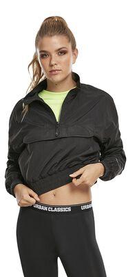 Ladies Cropped Crinkle Nylon Pull Over Jacket