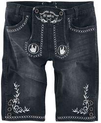 Schwarze Shorts im Lederhosen-Look mit gestickten Rockhänden und Ornamenten