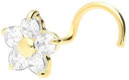 Echtgold Crystal Flower Nosestud