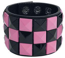 Schwarz/pinkes Schachbrett-Armband