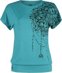 Sport und Yoga - Türkises lockeres T-Shirt mit detailreichem Print