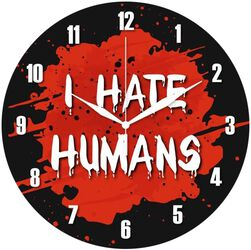 Glas-Wanduhr I Hate Humans
