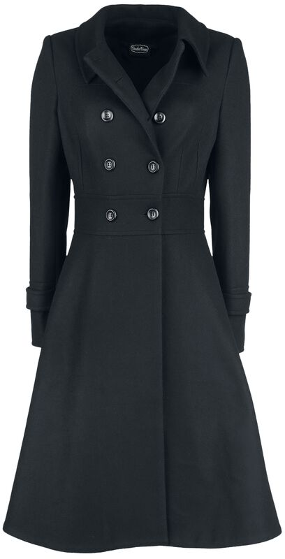 Grace Double Breasted Black Pleat Coat