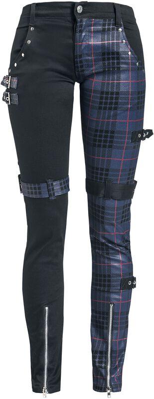 Gemusterte Hose mit Nieten und Riemen