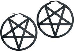Black Pentagram Hoops
