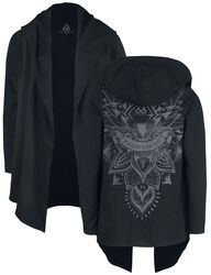 Sport und Yoga - Schwarzer Cardigan mit detailreichem Rückenprint und Kapuze
