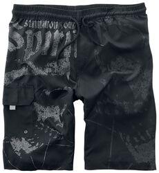 Schwarze Badeshorts mit angedeuteten Skull-Prints