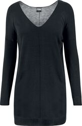 Ladies Fine Knit Oversize V-Neck Sweater