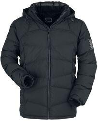 schwarze Puffer Jacke mit abnehmbarer Kapuze