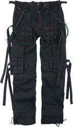Schwarze Stoffhose mit Taschen und Riemen